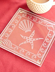 cheap -Seashell and Starfish Pattern Glass Coaster (set of 1) 9*9cm Beter Gifts® Wedding Favors