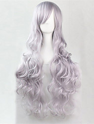 cheap -europe and the united states the new color long curly wig 80 cm high temperature smoke grey hair wigs