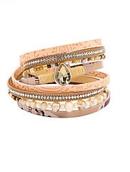 Fashion Women Multi Rows Stone Set Drop Leather Wrap Bracelet