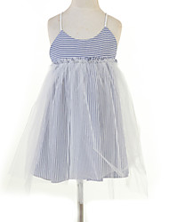 cheap -Girl's Jacquard Dress,Cotton Summer Sleeveless Lace Blue Pink