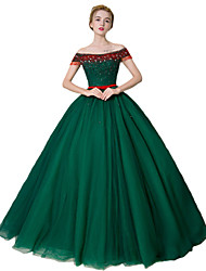 cheap -Ball Gown Princess Off-the-shoulder Floor Length Satin Tulle Stretch Satin Formal Evening Dress with Crystal Detailing by SG