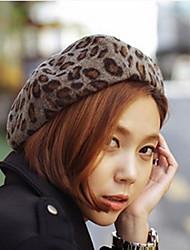 Cute Leopard Fur Beret Painter Warm Hat