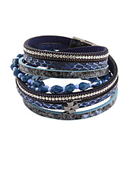 leather Charm BraceletsFashion Women 4 Rows Stone Set Beaded Wrap Leather Bracelet Christmas Gifts