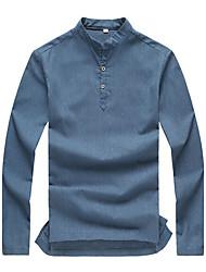 cheap -Men's Plus Size Linen Polo - Solid