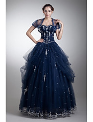 Ball Gown Sweetheart Floor Length Tulle Formal Evening Dress with Beading Appliques Side Draping by XFLS
