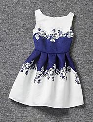 baratos -Menina de Vestido Verão Poliéster Sem Manga Floral Branco