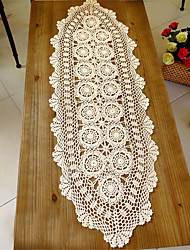 40*140cm Oval Handmade Hook Needle Crochet Cotton  Rustic Vintage Cutout Knitted Wedding Table Runner