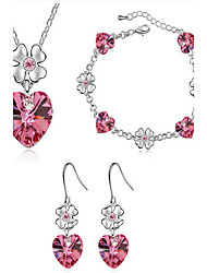 Ensemble de bijoux Cristal Cristal Pierres de naissance Violet Rouge Rose Vert Bleu Doré Nuptiales Parures Mariage Soirée 1setColliers
