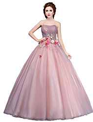 cheap -Ball Gown Princess Strapless Floor Length Tulle Formal Evening Dress with Flower(s) by SG