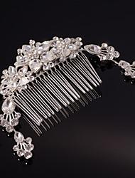 Недорогие -серебро / золото лист цветок форма кристалла перлы волос расчески для свадебного банкета леди