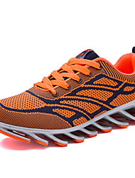 Running Shoes Men's Athletic Shoes Winter Comfort PU Casual Flat Heel Lace-up Black Red Orange