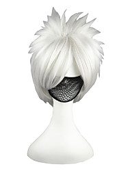 cheap -Cosplay Wigs Naruto Hatake Kakashi Silver Short Anime Cosplay Wigs 35 CM Heat Resistant Fiber Male / Female