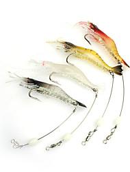 3pcs Fishing Lures 95mm/6g Luminous Shrimp Soft Bait with Hook Random Color