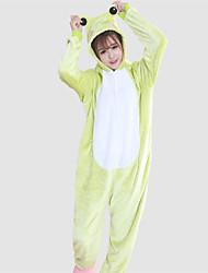 baratos -Adulto Pijamas Kigurumi Sapo Pijamas Macacão Ocasiões Especiais Velocino de Coral Verde Cosplay Para Pijamas Animais desenho animado Dia das Bruxas Festival / Celebração / Natal