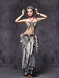 cheap -Belly Dance Outfits Women's Performance Cotton Polyester Beading Sashes / Ribbons Coin Flower Tassel Ruffles Dropped Top Pants Belt