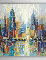 cheap -Hand Painted Oil Painting Landscape Colourful City Skyline with Stretched Frame 7 Wall Arts®