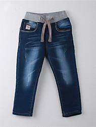 abordables -Pantalones Chica Un Color Algodón Verano Formal Azul