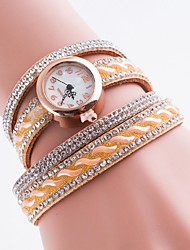 cheap -Women's Bracelet Watch Simulated Diamond Watch Quartz Casual Watch Imitation Diamond PU Band Analog Bohemian Fashion Multi-Colored - Pink Light Brown Light Green
