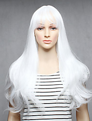 cheap -Capless White Color Long Length High Quality Natural Straight Synthetic Wigs