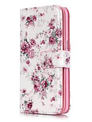 Недорогие -Кейс для Назначение SSamsung Galaxy Samsung Galaxy S7 Edge Кошелек / Бумажник для карт / со стендом Цветы для S7 edge / S7 / S6 edge
