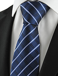 cheap -KissTies Men's Tie Dark Blue Striped Check Necktie Wedding/Business/Party/Work/Casual With Gift Box