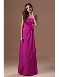 cheap -A-Line Strapless Floor Length Chiffon Bridesmaid Dress with Crystals / Side Draping by LAN TING BRIDE® / Open Back