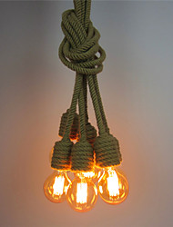 6 Heads Retro Loft Vintage DIY hemp rope Pendant Lights Living Room Dining Room Study Room/office Edison Chandelier