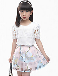 cheap -Girl's Blue / Pink Clothing Set,Floral / Lace Cotton Summer