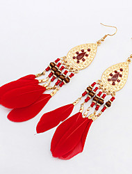 Drop Earrings Resin Feather Alloy Fashion Bohemian White Black Coffee Red Green Jewelry Party Daily Casual 1 pair