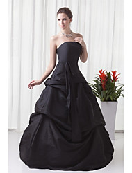 A-Line Strapless Floor Length Taffeta Formal Evening Dress with Pleats by XFLS