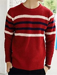cheap -Men's Daily Striped Pullover, Long Sleeves Cotton
