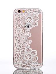 economico -TPU fiori di pesco modello bianco picchiettio trasparente posteriore per iPhone 6S 6 Plus