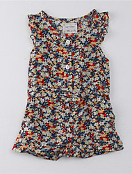 cheap -Girls' Print Dress,Cotton Summer Floral Blue