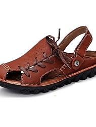 pelle sandali esterni / casuale degli uomini sandali sportivi all'aperto / casuale tallone piano taupe vuoto-fuori
