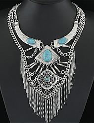 Недорогие -Жен. Бижутерия Винтаж европейский Многослойный Ожерелья с подвесками Заявление ожерелья Серебрянное покрытие Бирюза Ожерелья с подвесками