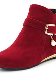 baratos -Mulheres Sapatos Courino Outono / Inverno Salto Baixo 10.16-15.24 cm / Botas Curtas / Ankle Ziper Preto / Amarelo / Vermelho