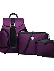 cheap -Women Bags Nylon Backpack Bag Set School Bag Travel Bag 3 Pcs Purse Set for Casual Outdoor All Seasons Black Purple Fuchsia Blue