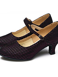 economico -Da donna Danza moderna Brillantini Velluto Sintetico Tacchi Sneaker Per interni Con balze Con ruche Brillantini Con lacci Tacco cubano