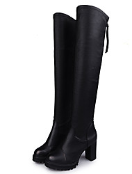 cheap -Women's Boots Fashion Boots PU Fall Winter Casual Fashion Boots Chunky Heel Black 4in-4 3/4in