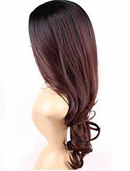 onda larga peluca sintética del vino sin tapa chica de belleza del color rojo de la moda color mezclado