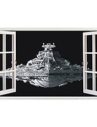 cheap -Big Size 3D Movie Warship Spaceship 3D Wall Stickers PVC Wall Stickers Bedroom Wall Decals