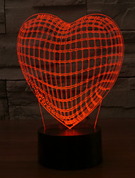 cheap -3D LED Lamp Love Heart Shape Romantic Holiday Colorful Night Light Color-Changing Night Light