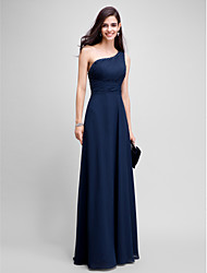 Sheath / Column One Shoulder Floor Length Chiffon Prom Formal Evening Dress with Beading by TS Couture®