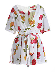 Women's Floral White Jumpsuits,Casual / Day / Beach Deep V Short Sleeve