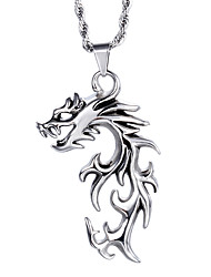 Kalen®Chinese Traditional Style Jewelry Men's Stainless Steel Dreagon Pendant Necklace