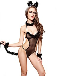cheap -YUIYE® Hot Black Sexy Women Erotic Lingerie Sexy Costumes Sexy Clothes with Bracelet Rabbit Costume Cosplay