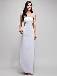 Tubinho Sem Alças Até o Tornozelo Cetim Baile de Fim de Ano Evento Formal Vestido com Fenda Frontal de TS Couture®