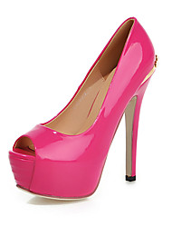 cheap -Women's Shoes Patent Leather Stiletto Heel Peep Toe Pumps Shoes with Imitation Pearl More Colors available