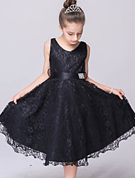 A-Line Knee Length Flower Girl Dress - Lace Tulle Sleeveless V-neck with Ribbon by YDN
