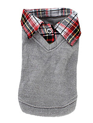 baratos -Cachorro Camiseta / Súeters Roupas para Cães Formais Cinzento Algodão Ocasiões Especiais Para animais de estimação Homens / Mulheres Casual / Fashion